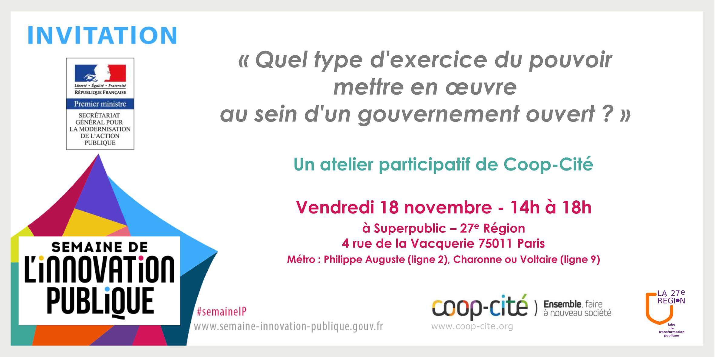 Atelier Coop-Cité - Semaine de l'innovation publique